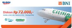 DISKON Rp.72.000,- setiap Kamis menggunakan iPay BNI di Citilink.co.id