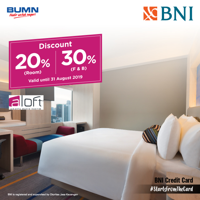 Discount 20% for Room and 30% for Food & Beverage di Aloft Jakarta