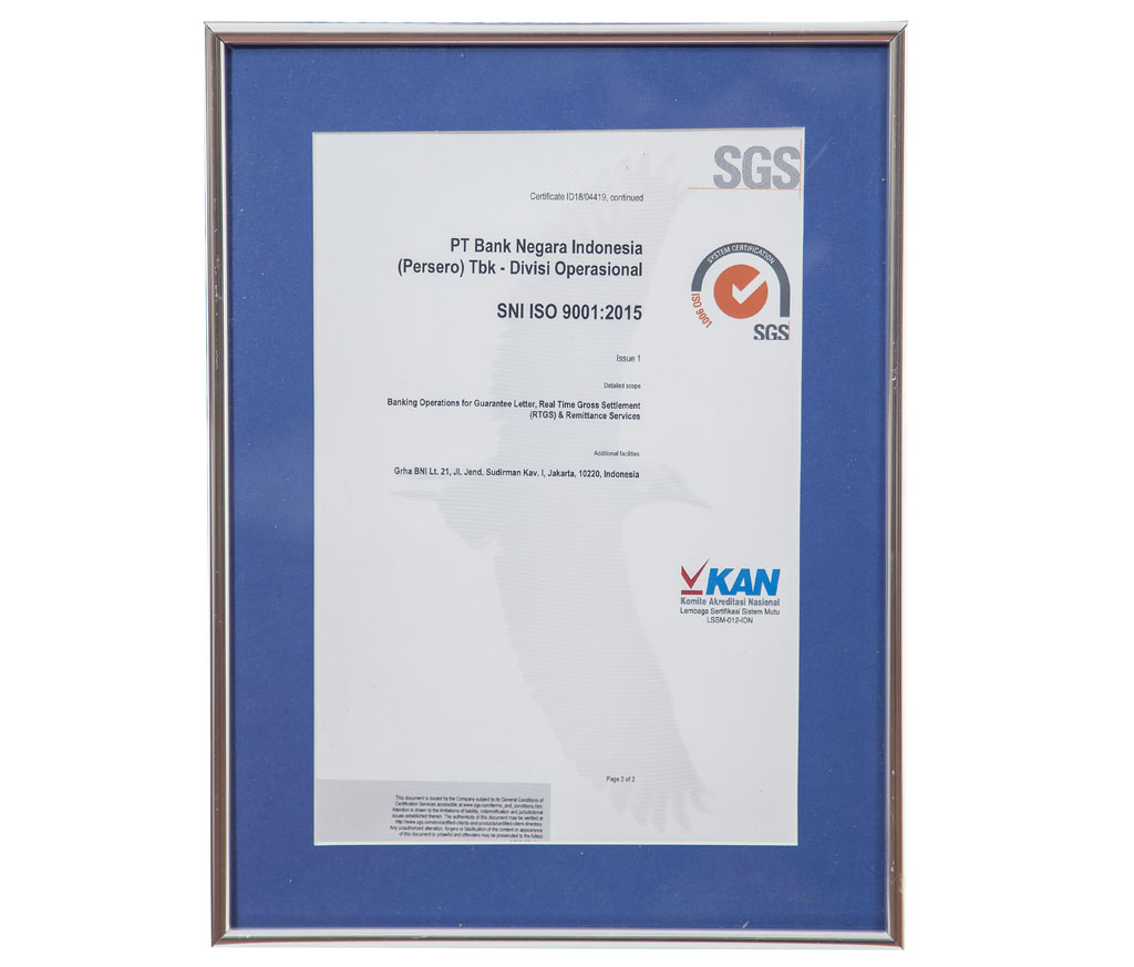 SNI ISO 9001:2015 Banking Operations for Guarantee Letter, Real Time Gross Settlement (RTGS) & Remmittance Services