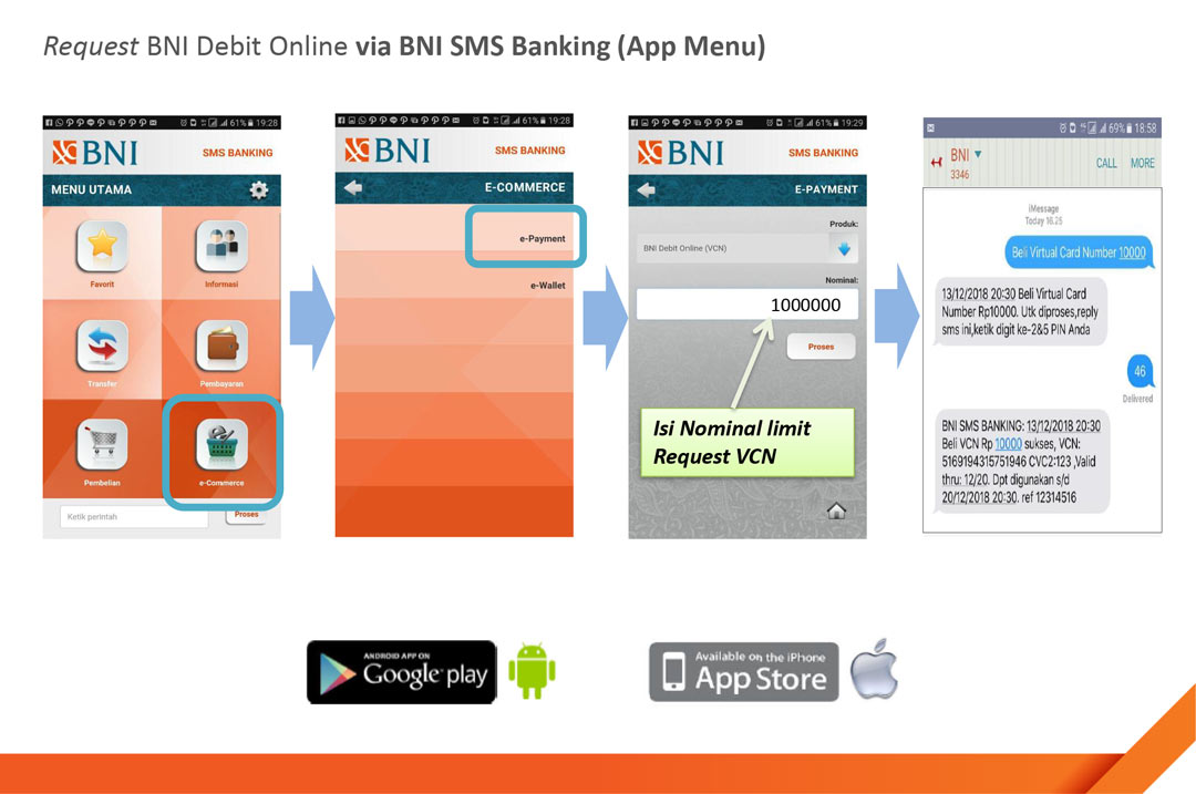 BNI SMS Banking Android & iOS